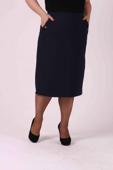 Темно синяя прямая юбка с карманами Арт. 1218
