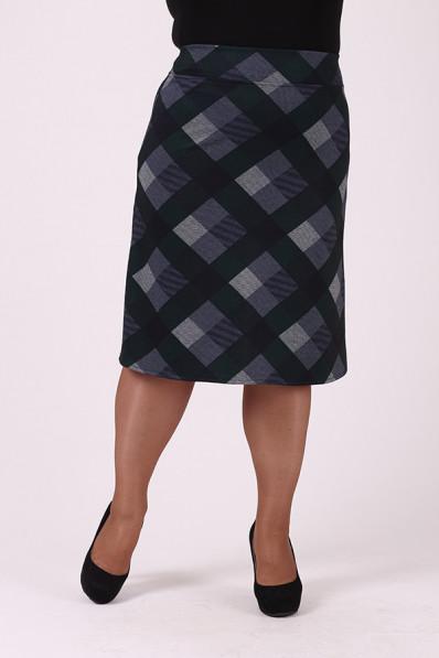 Серая юбка в ромб прямого силуэта Арт. 1234