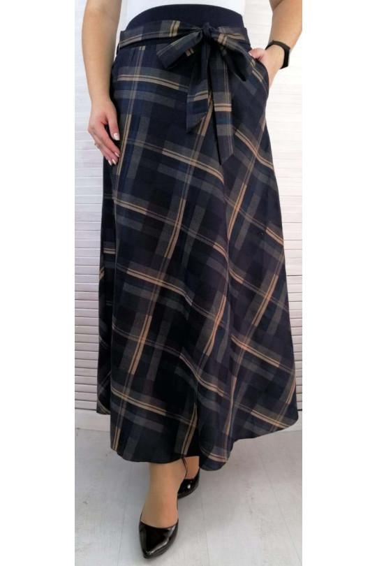 Длинная юбка в клетку большого размера Арт. 1246