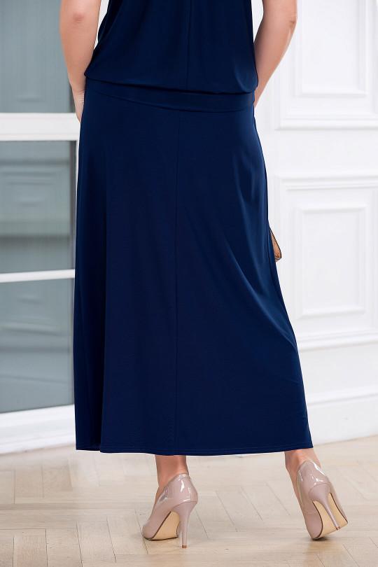Летняя юбка в пол с карманами Синий Арт. 1307
