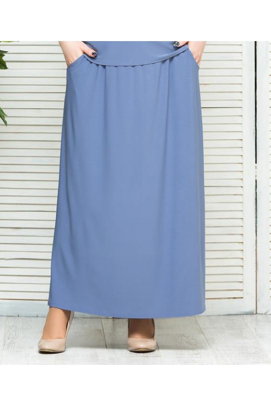 Летняя юбка в пол с карманами Небесный Арт. 1327