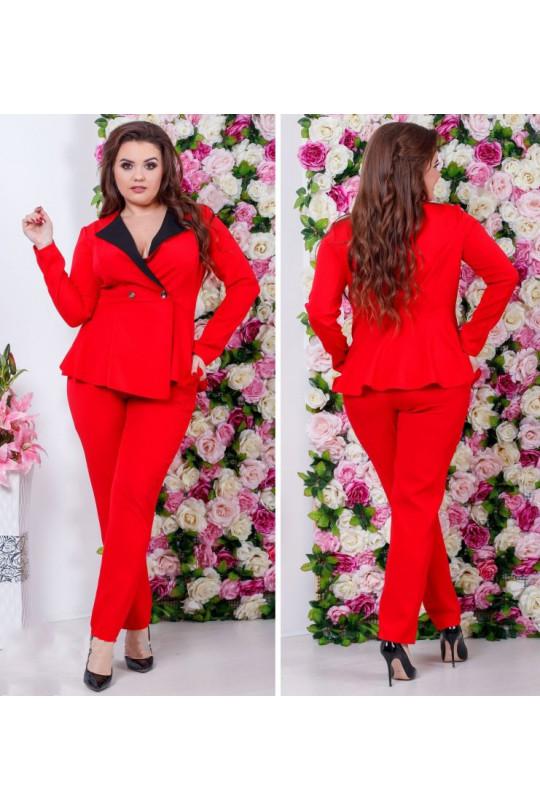 Элегантный красный брючный костюм Арт. 876