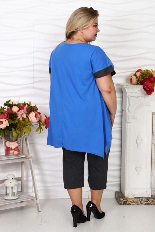 Летний Синий брючный костюм Арт. 1165