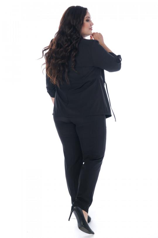 Черный брючный костюм тройка Арт. 1207