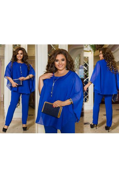 Синий нарядный брючный костюм большого размера Арт. 1257