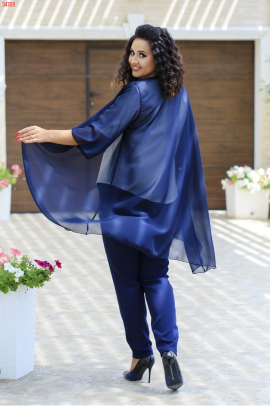 Синий брючный костюм тройка Арт. 1267