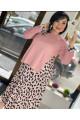 Розовый  костюм с юбкой плиссе Арт. 1283