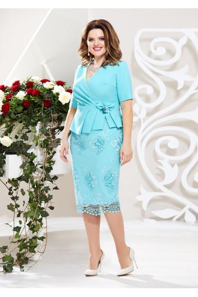 Голубой нарядный юбочный костюм Арт. 1368