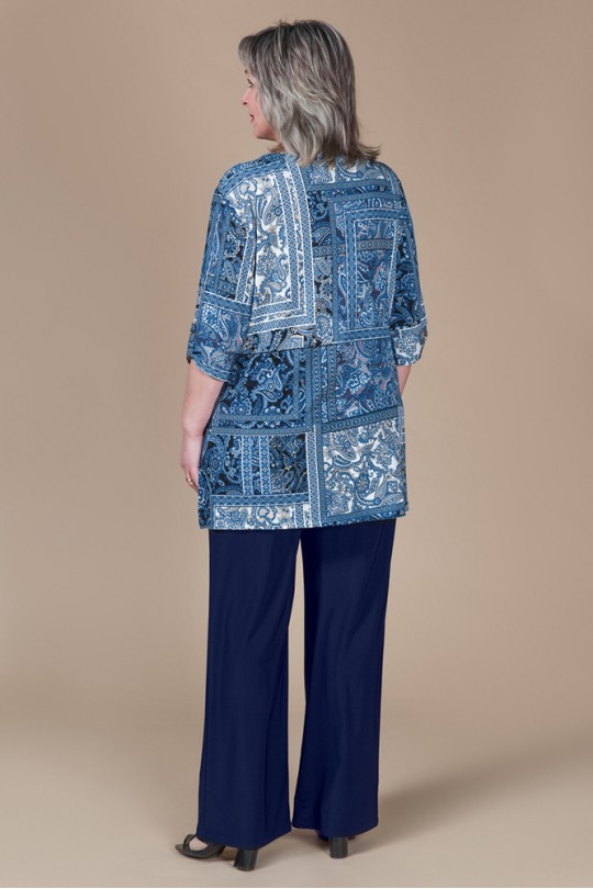Синий летний костюм большого размера Арт. 972