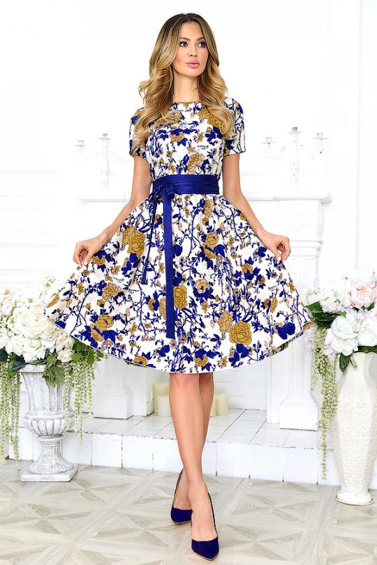 Летнее платье большого размера из хлопка Арт. 1012