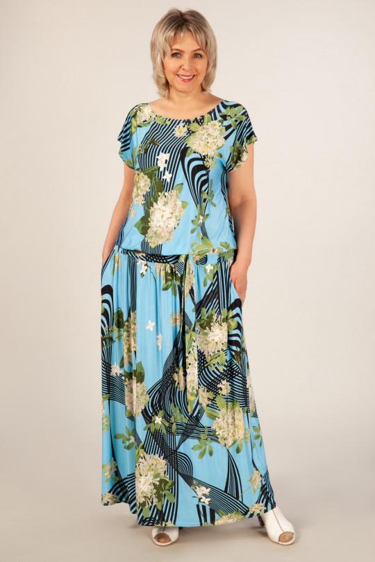 Летнее платье в пол большого размера  Арт. 1034