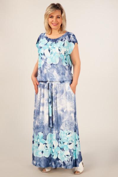 Летнее платье в пол с напуском на талии  Арт. 1038