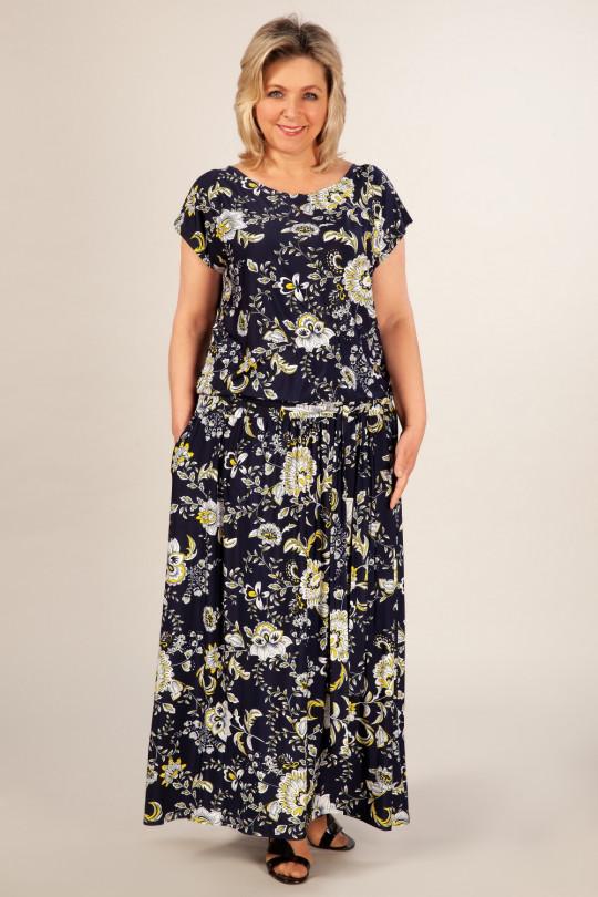 Темно синее платье макси большого размера  Арт. 1039