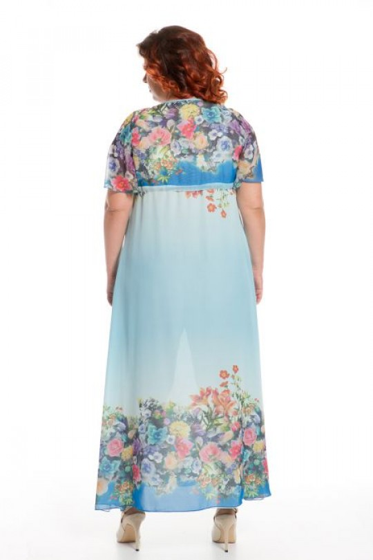 Романтичное длинное голубое платье из  шифона Арт. 1044