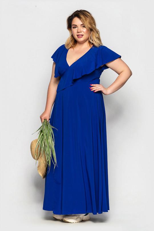 Ярко синее платье в пол с запахом Арт. 1063