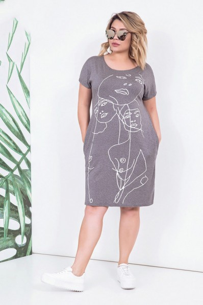Летнее платье прямого силуэта с карманами Арт. 1064