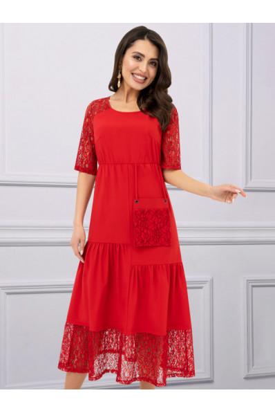 Летнее красное платье большого размера с кармашком Арт. 1158