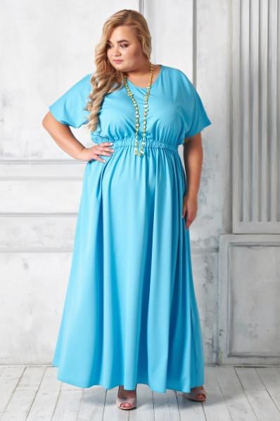 Голубое летнее платье большого размера прямого силуэта Арт. 1179