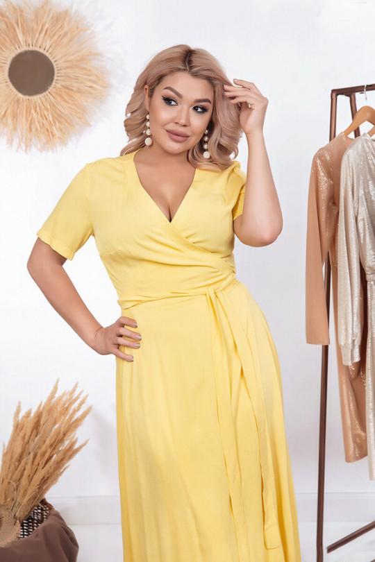 Желтое летнее платье с запахом Арт. 1181