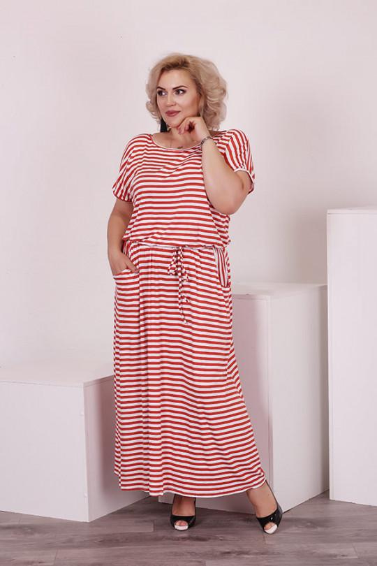 Длинное летнее платье в полоску  Арт. 1186
