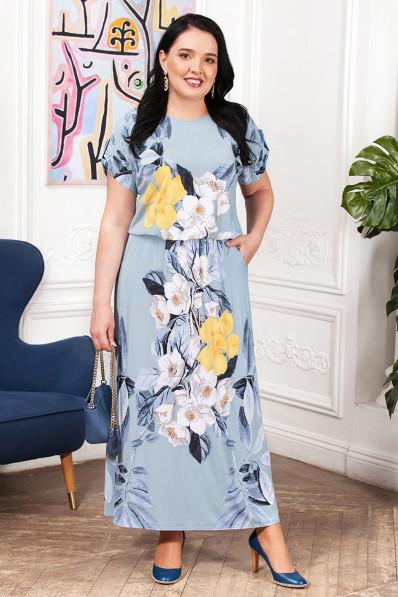 Небесно голубое платье с цветочным принтом  Арт. 1303