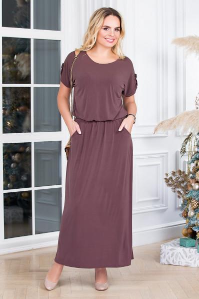 Кофейное летнее платье с напуском на талии  Арт. 1304