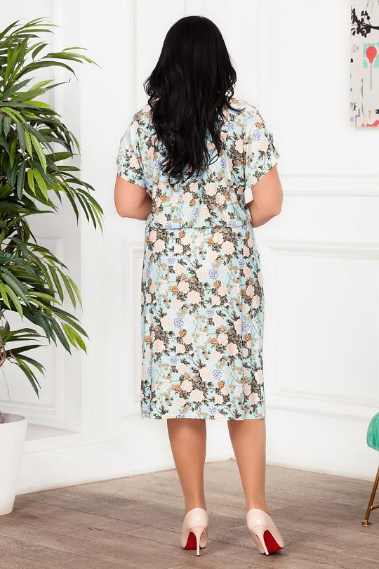 Летнее платье большого размера с цветочным принтом  Арт. 1324