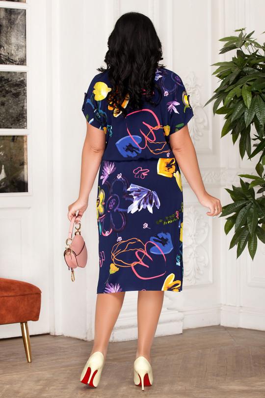 Синее летнее платье большого размера  Арт. 1325