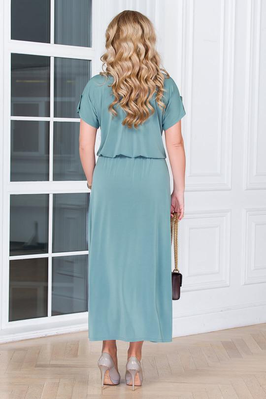 Серо-зеленое летнее платье с напуском на талии  Арт. 1326