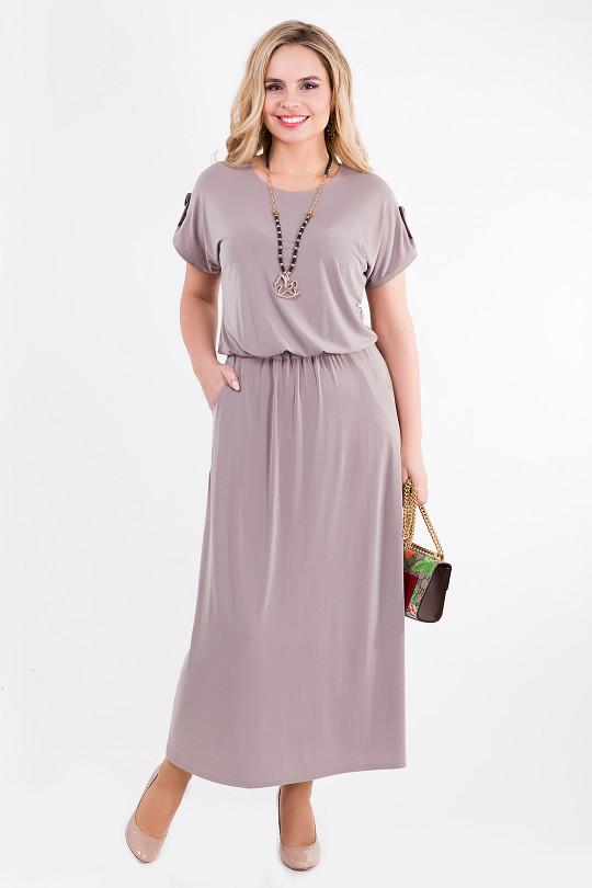 Бежевое летнее платье с напуском на талии  Арт. 1340