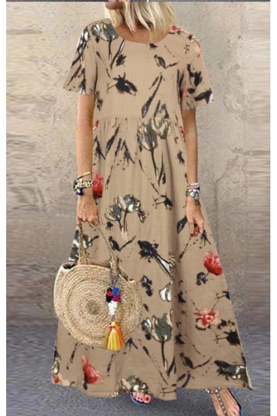 Бежевое летнее платье большого размера Арт. 1348