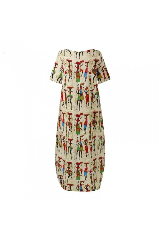 Бежевое платье бохо с этническим принтом Арт. 1351