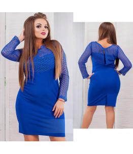 Небесно синее платье большого размера  Арт. 688