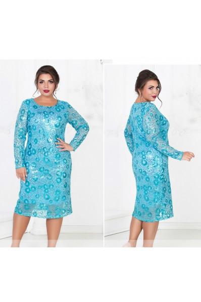 Блестящее голубое платье большого размера Арт. 914