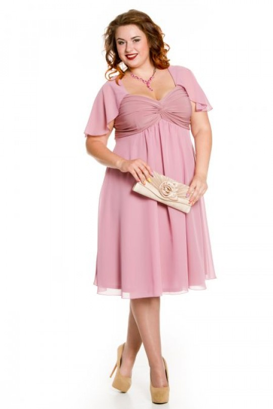 Нарядное платье из розового шифона Арт. 1043