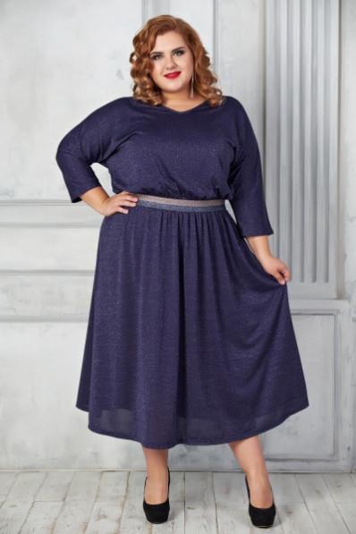 Темно синее нарядное платье большого размера  Арт. 1071