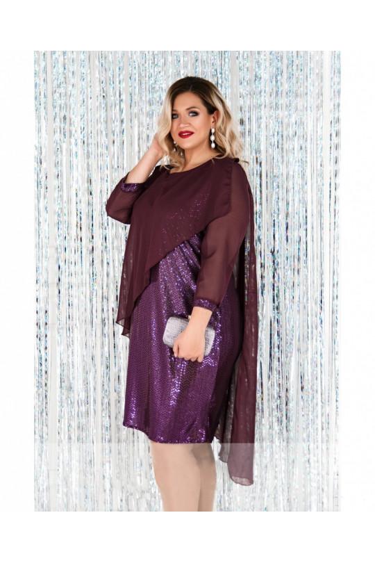 Бордовое народное платье А-силуэт Арт. 1094