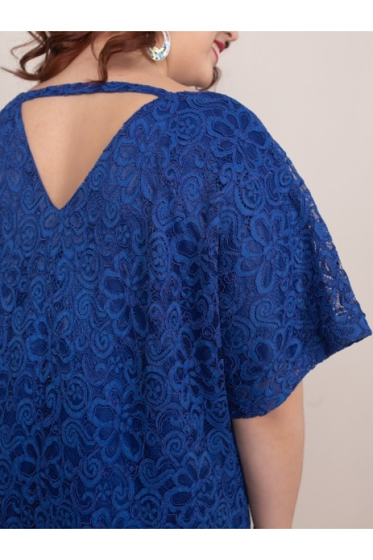Синее нарядное платье из гипюра Арт. 1175