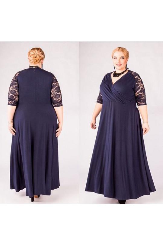 Синее вечернее платье большого размера Арт. 1189