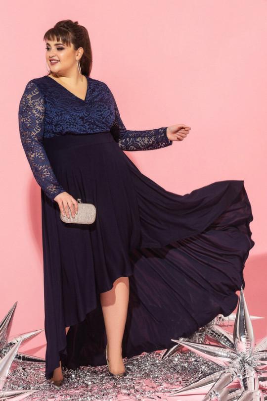 Темно синее вечернее платье маллет  Арт. 1194