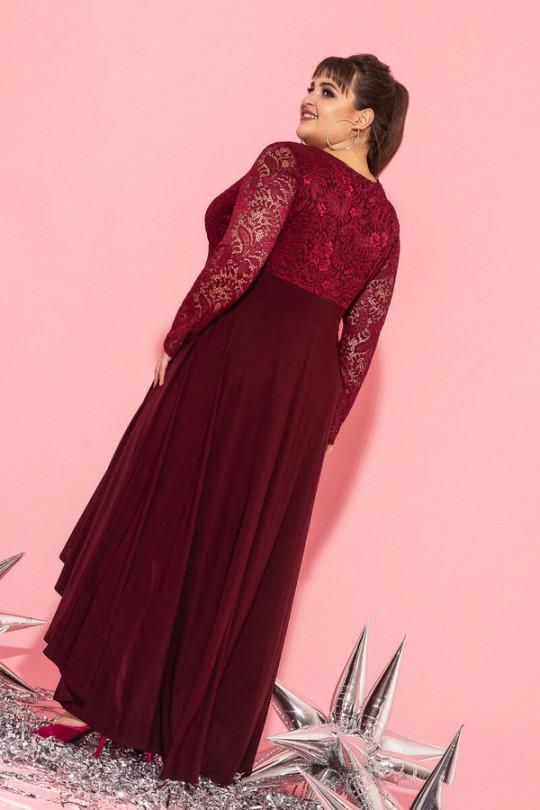 Бордовое вечернее платье маллет Арт. 1195