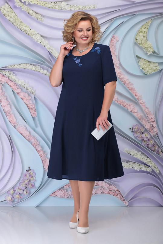 Темно синее нарядное платья с жакетом Арт. 1213