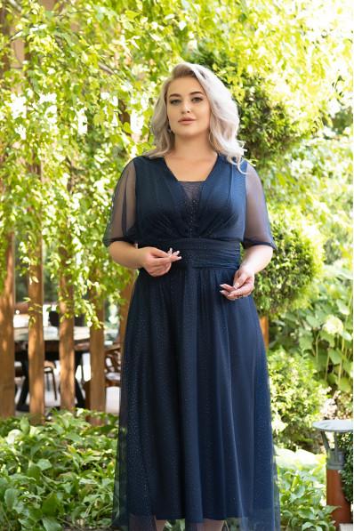 Нарядное платье на полную фигуру. Цвет Милори Арт. 1374