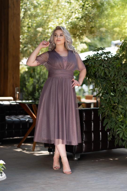 Нарядное платье на полную фигуру. Цвет Мокко Арт. 1375