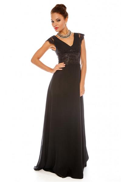 Вечернее платье в пол Черное Арт. 578