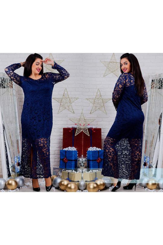 Синее вечернее платье из гипюра Арт. 684