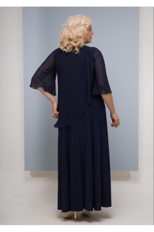 Синее вечернее платье большого размера  Арт. 786