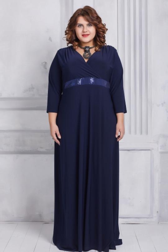 Синее вечернее платье большого размера  Арт. 935