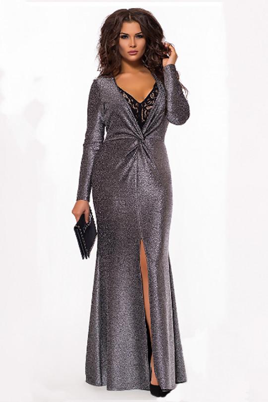 Вечернее платье рыбка с глубоким v-образным вырезом  Арт. 1102
