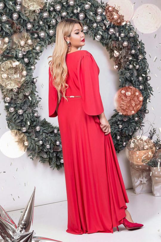 Яркое красное вечернее платье маллет Арт. 1136